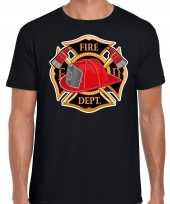Brandweer logo verkleed t-shirt verkleedkleren zwart voor heren