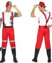 Brandweerman joe verkleedkleren met bretels voor heren