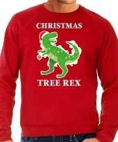 Christmas tree rex kerstsweater verkleedkleren rood voor heren