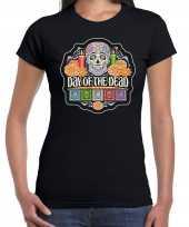 Day of the dead dag van de doden halloween verkleed t-shirt verkleedkleren zwart voor dames