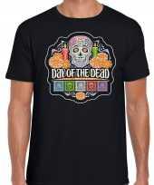 Day of the dead dag van de doden halloween verkleed t-shirt verkleedkleren zwart voor heren