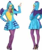 Dierenpak blauwe draak verkleedkleren jurk voor dames