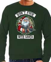 Foute kerstsweater verkleedkleren dont fuck with santa groen voor heren