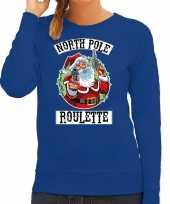Foute kerstsweater verkleedkleren northpole roulette blauw voor dames