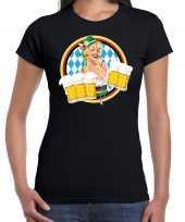 Oktoberfest bierfeest drank fun t-shirt verkleedkleren zwart met beierse kleuren voor dames